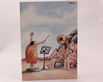 Vintage 1983 Gary Larson Far Side Greeting Card and Envelope. Caveman Orchestra