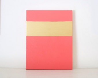 GOLD STRIPE - Coral & Gold Abstract PAINTING - Coral Pink and Gold Room Decor - Gold Stripe Wall Art - Gold Modern Painting - Coral Painting