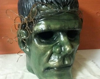 Hand Painted Frankenstein Head with a Wire Crown