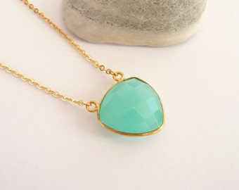 Aqua Chalcedony Necklace, Gold Filled Necklace, Dainty Necklace, Gold Chain Necklace, Gold Filled Jewelry