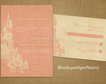 Fairy Tale Theme Wedding Invitations,Castle,Rose Gold,White Gold,Happily Every After,Romantic,Shimmery,Opt RSVP Card,Customizable,Envelopes