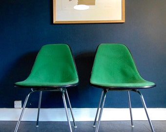 Vintage Charles And Ray Eames For Herman Miller Fibreglass and Fabric Upholstered Side Chairs In Green. Original Parts Fantastic Condition.