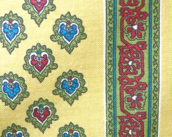 Traditional French vintage Provencal remnant length of cotton fabric with a mustard background and vertical lines of red, green and blue.