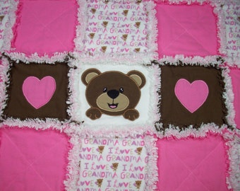 Teddy Bear Rag Quilt, Rag Quilt Baby, Applique Rag Quilt, Rag Quilt for sale, Baby Girl Quilt, Baby Blanket, Handmade Quilts, Toddler