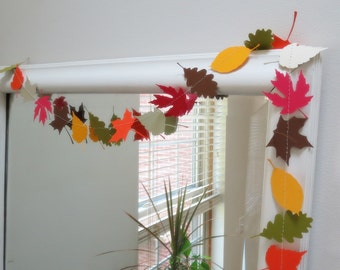Leaf Garland - Natural Garland, Choose Your Colors, Paper Garland, Fall Decorations, Leaves