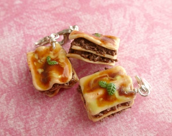 Lasagna Miniature Food Jewelry Charms Gifts for Her Polymer Clay Lasagna