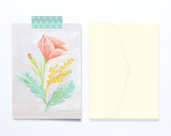Mother's Day Greeting card delicate flower illustration vintage