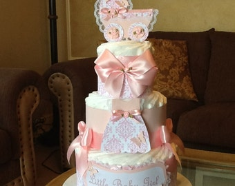 Baby Girl diaper cake/Pink and white diaper cake/Elegant diaper cake/Girl baby shower centerpiece/Hospital Gift
