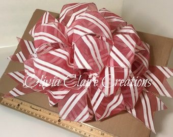 Sheer Red and White Striped Holiday Bow, Christmas Bow, Gift Bow, Gift Basket, Christmas Tree Topper, Bow for Wreath, Holiday Decor