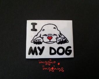 I LOVE MY DOG dog brooch