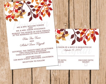Fall Wedding Invitations, Printable Wedding Invites, Autumn Wedding, Fall Leaves Invitation Suite, Wedding Invite Set, Digital Invites