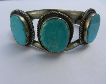 Native American Navajo Nickle Silver Turquoise Cuff Bracelet