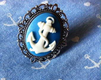 Cameo ring anchor vintage old school