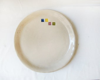 White handmade pottery plate, Unique serving plate