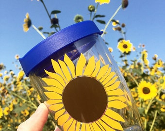 Sunflower Wine Glass - Bachelorette Party Favors - Wine Glass - Stemless Wine Glass - Acrylic Wine Glass - Sunflower Wedding - Fall Wedding