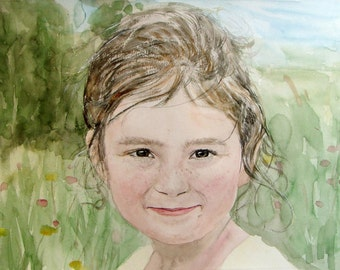 Watercolor Painting from Photo, 1 figure, delivery rolled in art tube (without frame)