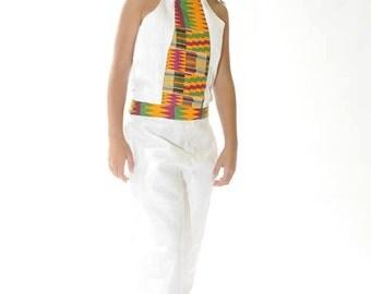 White two piece Kente trimmed Halter top pants set