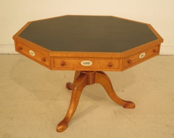 23703E: Custom Made Tiger Maple Octagonal Leather Top Rent Table