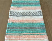 Mexican table runner, teal and peach falsa blanket, boho chic decor, rustic wedding, tribal party, also great as beach blanket or yoga mat
