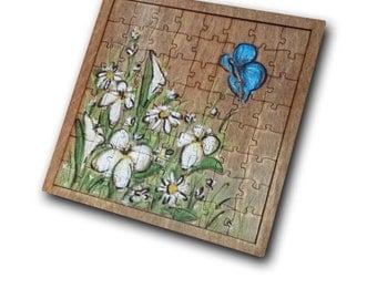 Flowers Wooden puzzle / Casse-tête fleurs en bois