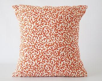 Orange pillow, orange pillow cover, orange waverly pillow cover, throw pillows, cushion, decorative pillows