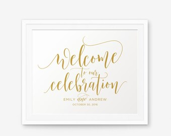 Personalized Wedding Sign, Welcome To Our Celebration, Gold Wedding Printable, Wedding welcome sign, Wedding Sign, Wedding Decor