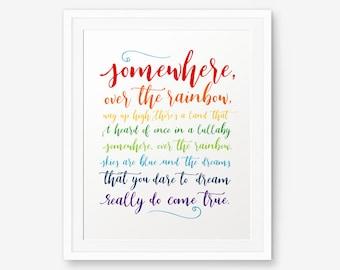 Somewhere Over the Rainbow Printable, Rainbow Color, Nursery decor, Baby shower gift, Children Decor, Bedroom Decor, Nursery rhyme, Lullaby