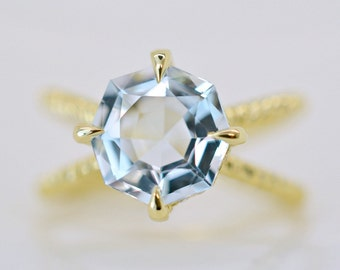 3.60 Ct. Octagon Cut Aquamarine & Diamond Engagement Ring on 14K Yellow Gold