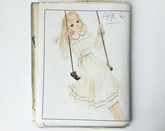 Vintage McCalls Child's Dress Pattern, 9099, Enchanted Forest Designer Sewing Pattern, Age 6 Years, UNCUT, No Pattern Envelope, 1980s, 01179