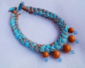 Yarn beaded braid necklace Handmade beaded boho necklace Yarn necklace with beads Unique festival ethnic jewelry