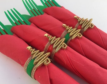 Christmas Napkin Rings: Holiday Napkin Rings -  Christmas Party Supplies, Holiday Party Tableware