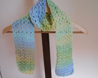 "Hand Crochet Scarf 51"" by 5"" Variegated Scarf Green, Blue, And Yellow Scarf"