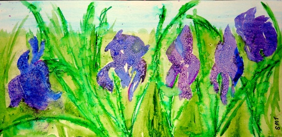 "IRIS GERMANICA 1, Watercolor and Salt Modern Impressionism Painting on 10-7/8 x 5.5"" Watercolor Paper, German Iris, Stacey Torres Artist"