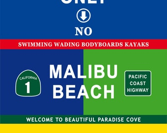 Malibu Beach Vintage Decoration Print Poster