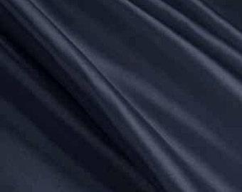 "Navy Solid Satin Charmeuse Fabrics - Apparel Wedding Home Decor - By The Yard - 60"""