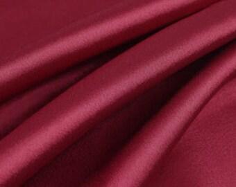 "Burgundy Solid Satin Charmeuse Fabrics - Apparel Wedding Home Decor - By The Yard - 60"""