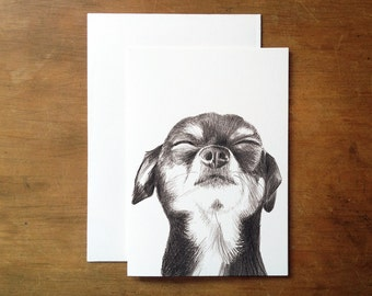 Chihuahua greeting card. Chihuahua. Toy dog print. Dog illustration. Pet portrait. Dog face.