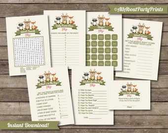 Instant Download-Woodland themed baby shower game printable pack- JPEG format