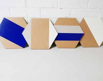 Handcrafted Wooden Geometric Hexagon Placemats   | Set of 4