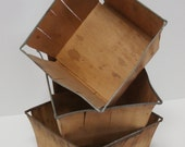 Vintage wooden berry baskets metal rim shabby chic