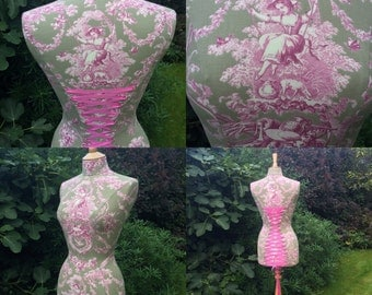 TOILE de JOUY MANNEQUIN, Dress Form, Corset back,  French style, Shabby Chic