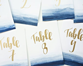 watercolor and gold wedding table numbers // handwritten wedding decor in calligraphy font // sized to fit picture frames