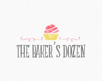 Cupcake Logo Design , Bakery Logo , Foodie Logo , Food Blog , Baking Blog ,  Watercolor Cupcake , Bakers Logo , Watercolour Cupcake
