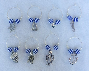 8 wine glass charms - Nautical style