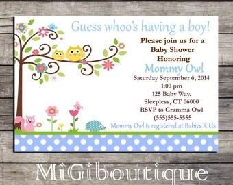 Happi Tree Owl Personalized Baby Shower Invitation Printable blue