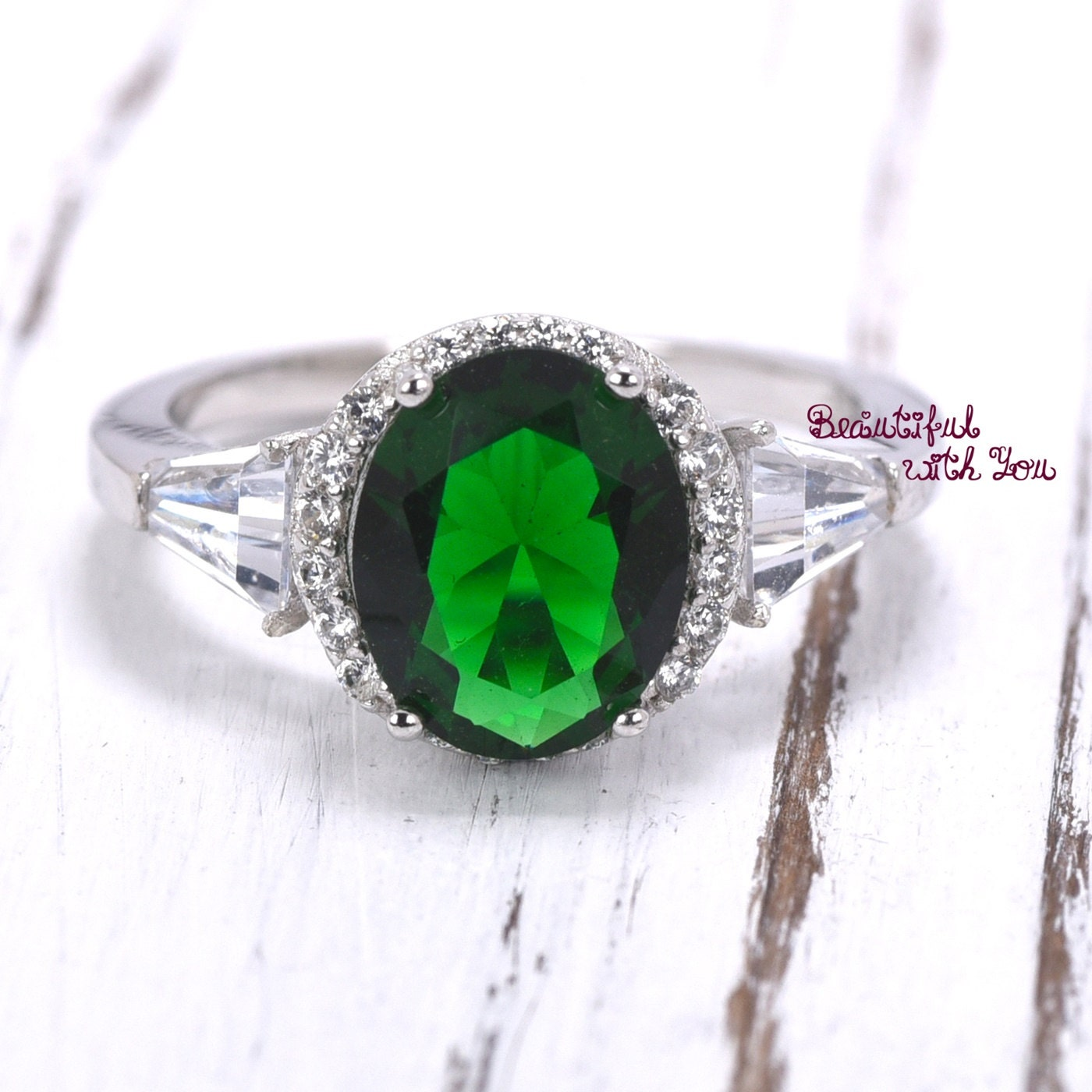 emerald cz promise ring womens rings womens silver ring