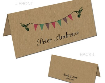Personalised kraft name cards printed with each guest's name