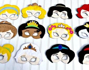 Masks inspired by Cinderella, Aurora, Belle, Ariel, Anna, Tiana, Rapunzel, Mulan, Tinkerbell, Elsa, Jasmine & Snow White