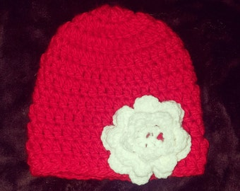 Red Crochet Hat with White Flower
