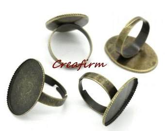 10 rings Bronze tray 25x18mm brackets